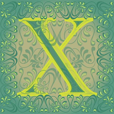 decorated letter x Vector