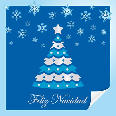 Christmas card blue spanish Vector