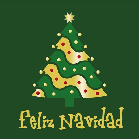Christmas card green spanish Vector