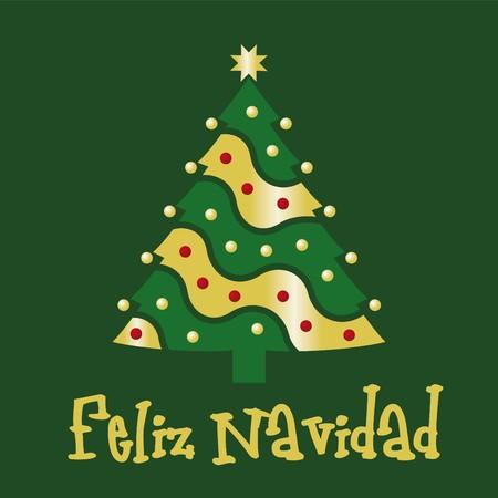 good wishes: Christmas card green spanish Illustration