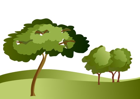 the shade: landscape with trees Illustration