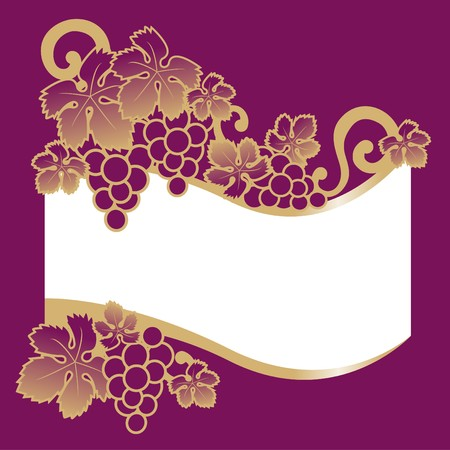 sommelier: etiqueta de vino de uvas  Vectores