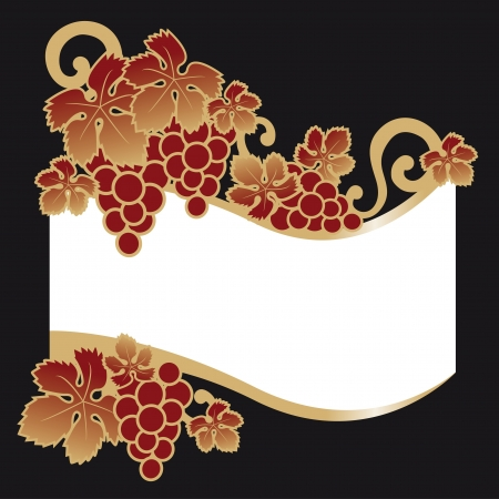 wine label grapes Vector