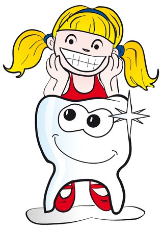 Girl with tooth Vector