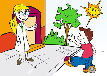 health cartoons: school, college, nursery