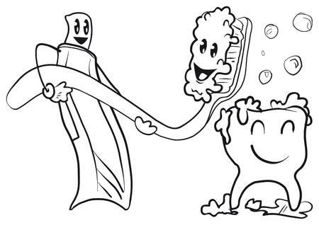 toilet brush: dentist Illustration