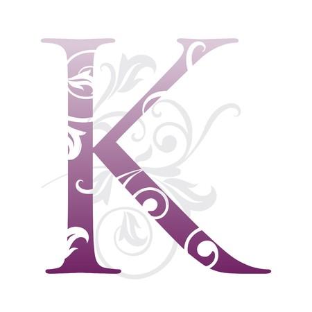 flower alphabet: letter k