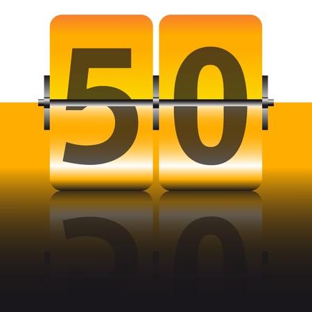 number 50: tarjeta oro de cincuenta
