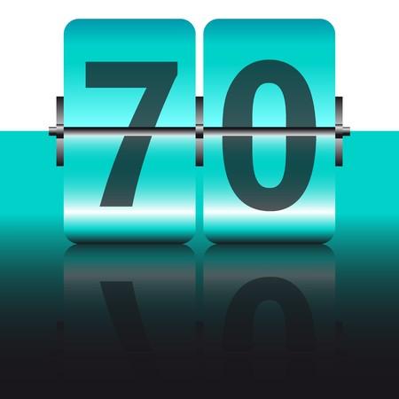 seventy: carta di settanta turchese Vettoriali