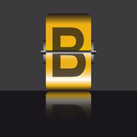 letter b, gold Vector