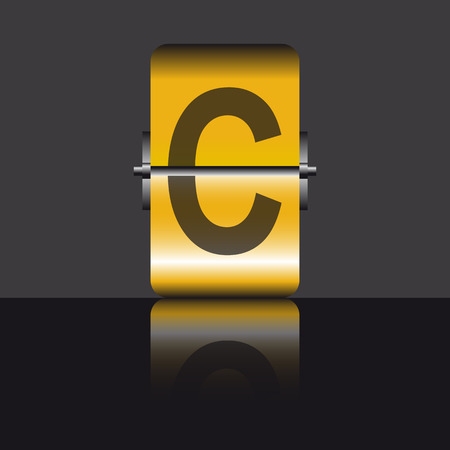 vowel: letter c, gold Illustration