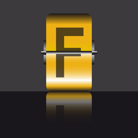 letter f, gold Vector