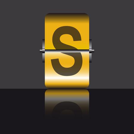 letter s, gold Vector