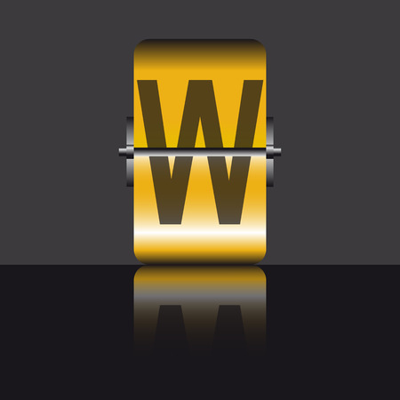 letter w, gold