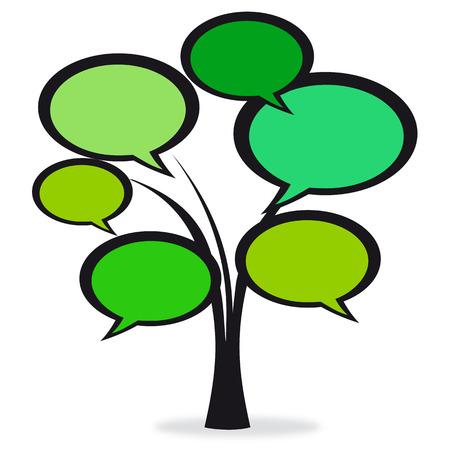 comic balloons green tree