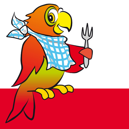 bird logo: parrot with a fork Illustration
