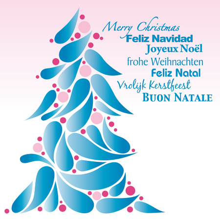 Christmas tree blue and pink Vector