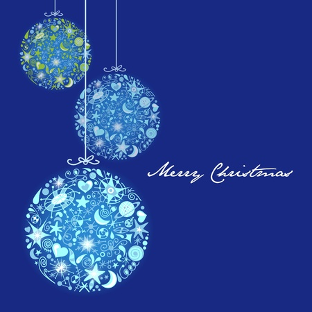 Christmas card with blue trim Vector