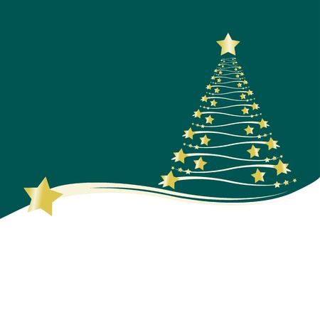 christmas tree gold star Vector