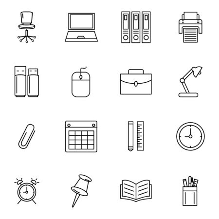 Office icon set outline style for your for your web design, logo, UI. illustration. such as chair,laptop,print, printer, flashdisk, memory,mouse,briefcase, lamp