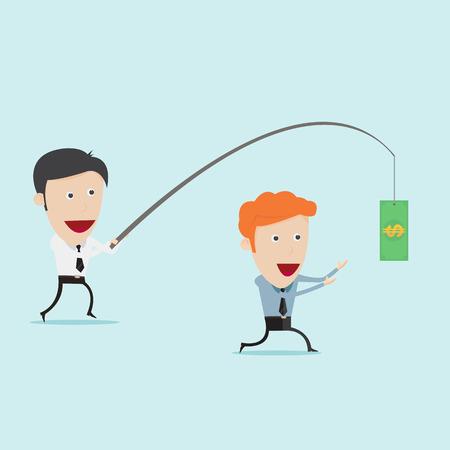 slave: Businessman fishing money for motivation