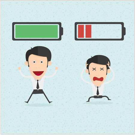 battery charging: Businessman and life energy. You can remove background and shadow. All parts are vector and editable.
