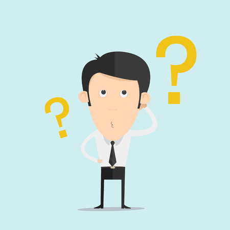 Business man scratches his head in indecision on a question mark   Illustration