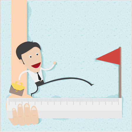 Business man step to the target  Illustration