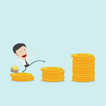 coin stack: Businessman jump over coin stack