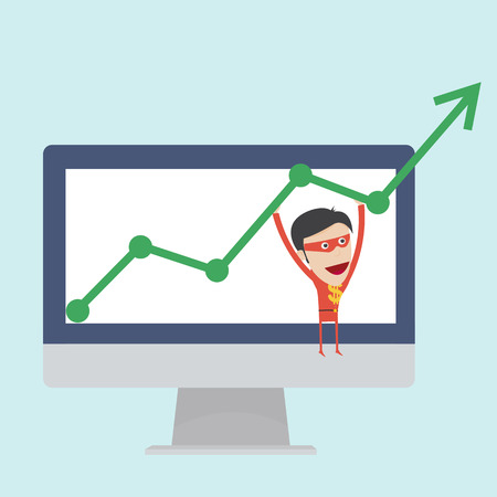 Business money man hang on the positive graph  Illustration