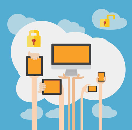 protecting your business: BYOD Concept Bring Your own Device Security  Illustration