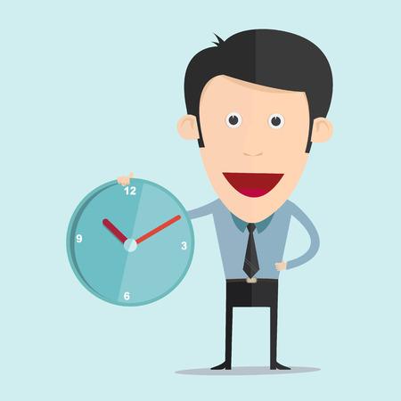 フラットなデザインの時計と漫画のベクトル イラスト  イラスト・ベクター素材