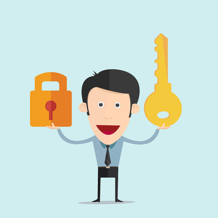 Vector illustration of cartoon with a key flat design  矢量图像