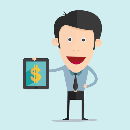 Vector illustration of cartoon with tablet and money flat design  Vector