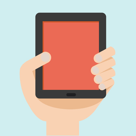 tablet pc in hand: Vector illustration of hand with tablet flat design