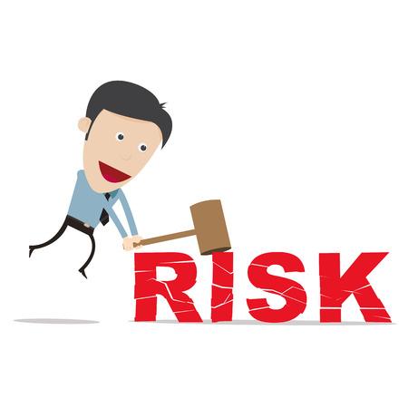 business person: Vector illustration of cartoon vector business person smashing risk word