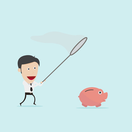 flying money: Businessman catching piggybank