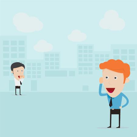 ビジネスマンの距離からの通信