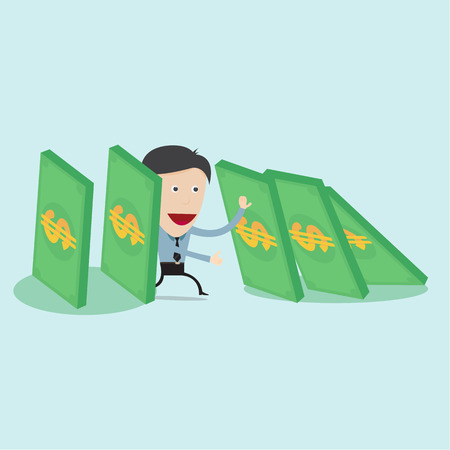 chain reaction: A single man trying to stop collapsing domino money  Illustration