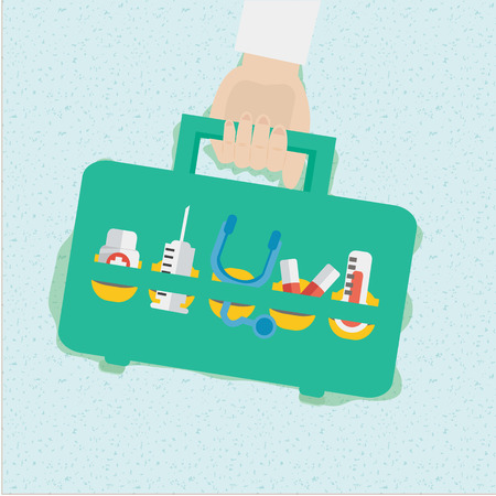 first aid box: Botiqu�n de primeros auxilios Vectores