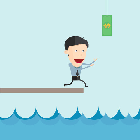 managment: Businessman run catch flying money for risk managment concept