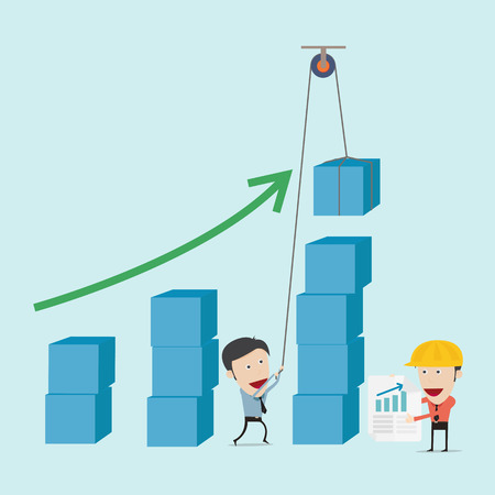 Business man and engineer try to build graph Stock Vector - 28443437