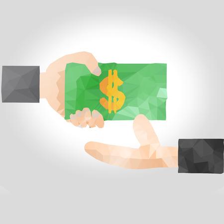 remuneraciones: Mano que entrega el dinero a otro lado