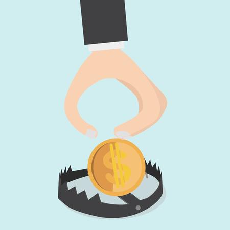 pick up: Main ramasser de l'argent dans le pi�ge Illustration
