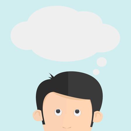 think up: The head thinking cartoon  Illustration