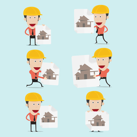 charactor: Vector illustration of cartoon engineer charactor for home building