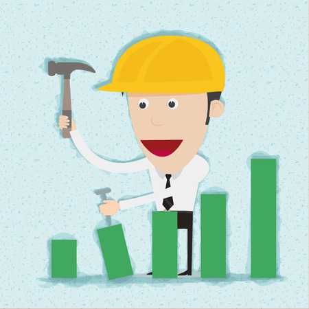 perseverance: Business man and engineer build graph. You can remove background and shadow. All parts are vector and editable.