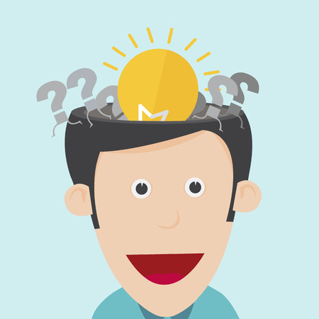 Vector illustration of idea concept with open the human head  Vector