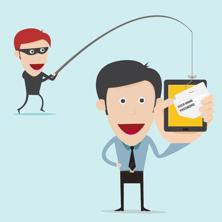 business concept van internet zwendel met phising