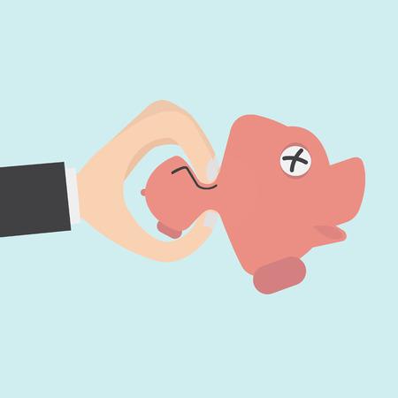 under pressure: Hand squeeze piggy bank for budget management concept